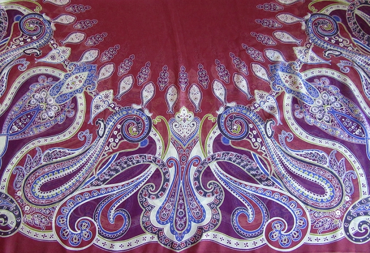 Beautiful-popular-fashion-scarf-with-paisley-pattern-by-UK-graphic-designer-Patrick-Moriarty