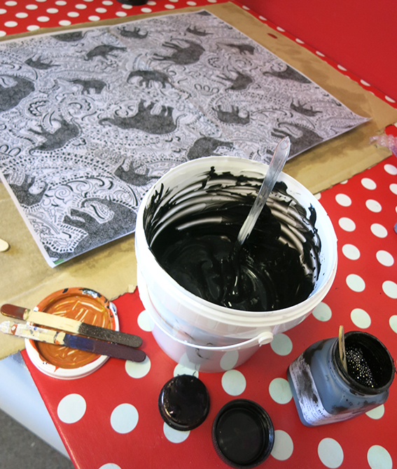 mixing-inks-at-The-Old-Waterworks-print-room-Southend-Essex