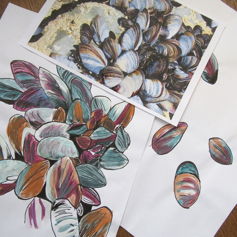 paintings-and-photo-by-Lorna-Withers-at-Designing-Printed-Textiles-Course-Southend-Essex