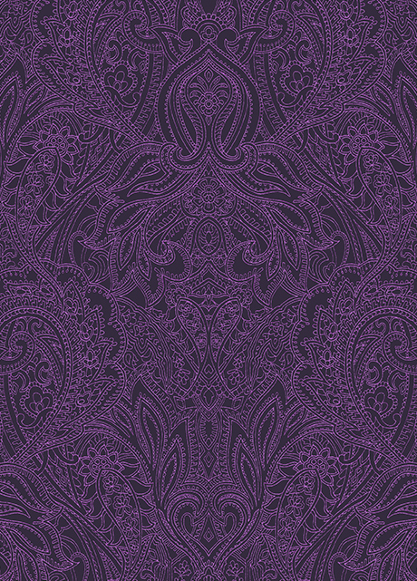 purple paisley textile design created by Patrick Moriarty