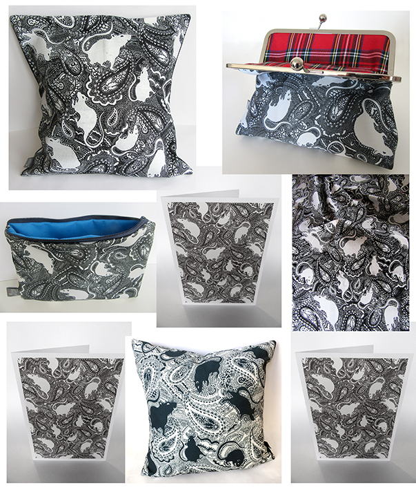Paisley Rats design on bags, cushions and notelets