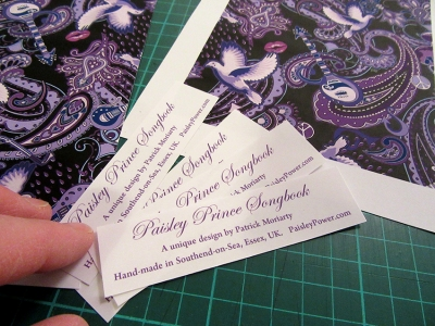 artwork details including the name of the designer Patrick Moriarty of Paisley Power are added to each card