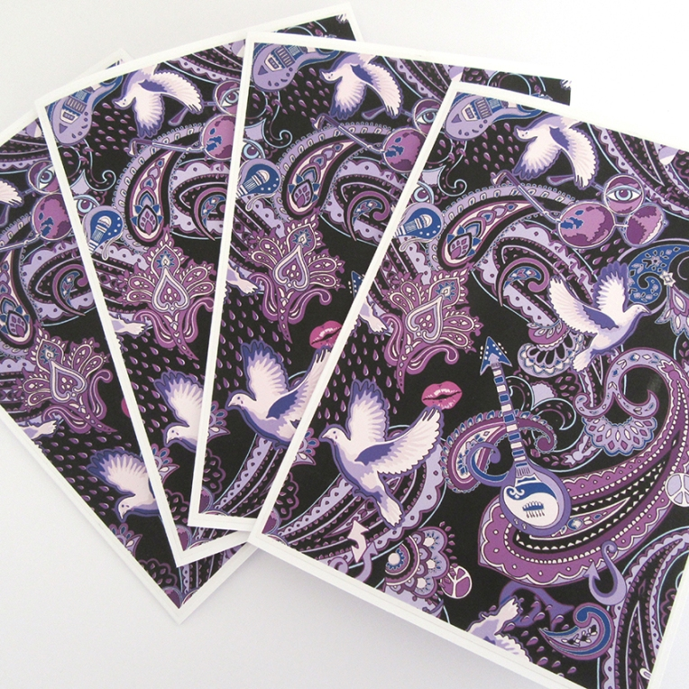 Hand-made gift cards with Prince-themed design by Patrick Moriarty. The cards were awarded to all the runners-up in a recent competition to guess Prince's songs represented in the design.