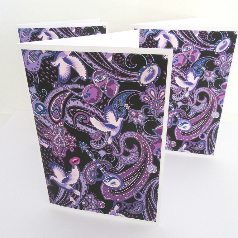 Paisley Prince Songbook greeting cards hand made by Patrick Moriarty in Southend-on-Sea, UK
