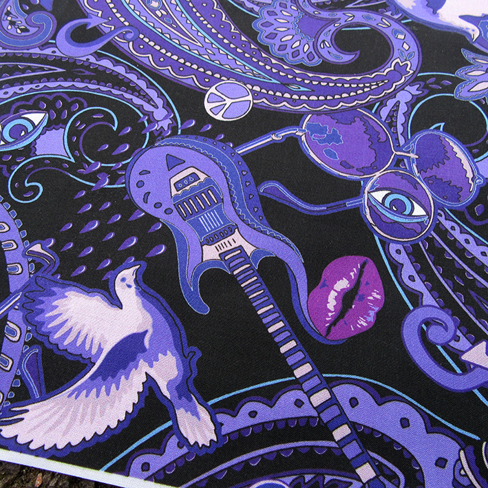 Printed fabric sample with motifs of the Prince songs: When Doves Cry, Guitar, Kiss, 3rd Eye and Purple Rain.