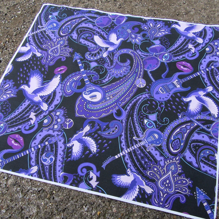 purple paisley pattern specifically designed with motifs relating to the singer Prince Rogers Nelson