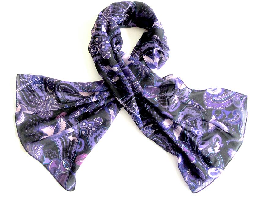 Paisley Prince Songbook printed chiffon scarf