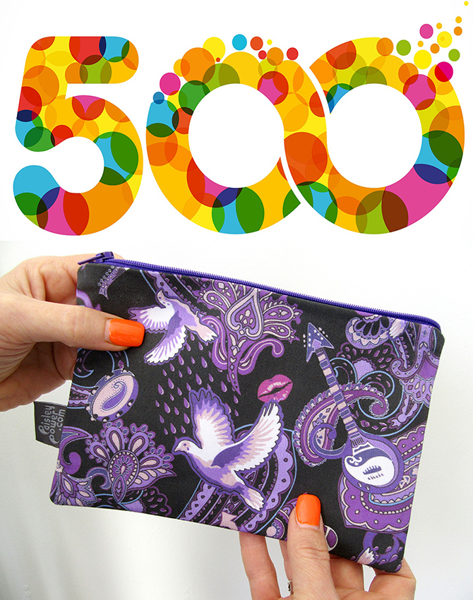 Sales of hand-made products and unique fabrics designed by Patrick Moriarty, have reached 500. The Paisley Prince Songbook zip bag is one of the popular products helping to reach this milestone of 500.