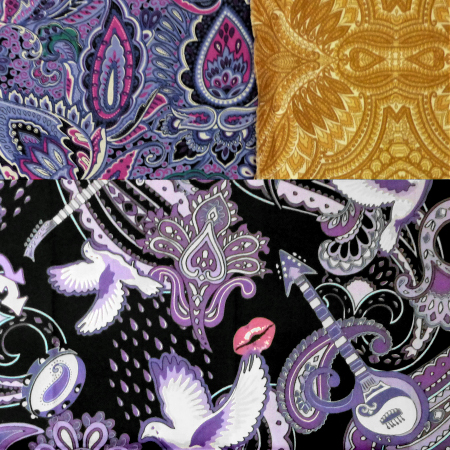 Monica has specifically chosen these 3 fabrics including the Paisley Prince Songbook cotton to make a special tote bag.
