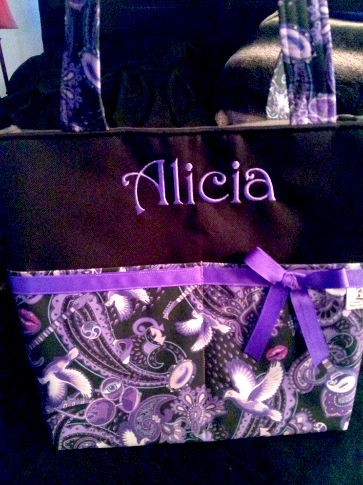 Alicia Wilson bag made with Paisley Prince Songbook fabric designed by Patrick Moriarty. Photo taken by Alicia in US