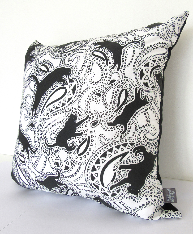 Paisley Cats printed cushion designed by Patrick Moriarty and sold online in the Paisley Power Shop at Etsy.