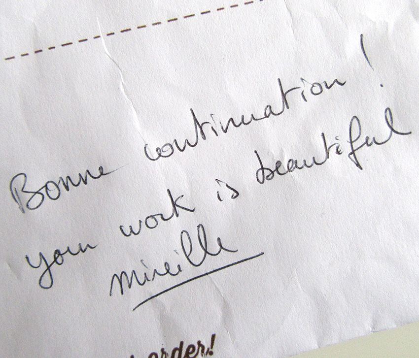 """Mirey, who sent the fabric to UK wrote on a note """"your work is beautiful""""."""