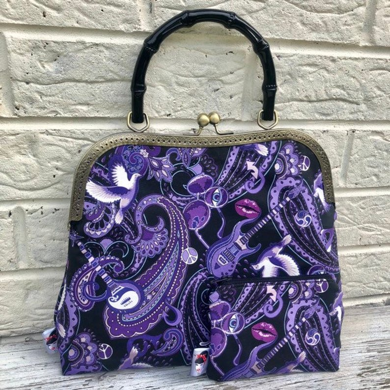 handbag by Sam Mercer made with Paisley Prince Songbook fabric designed by Patrick Moriarty