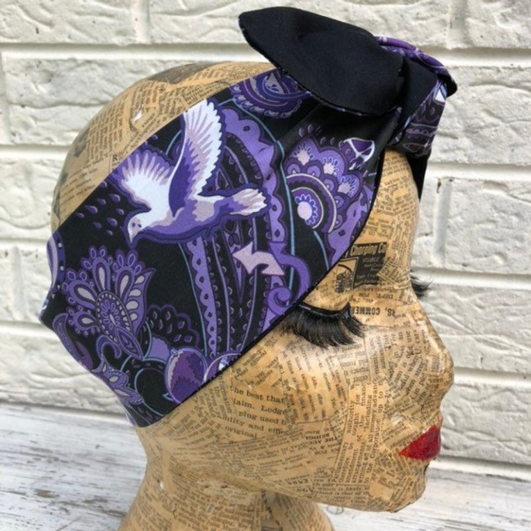 headscarf by Sam Mercer made with Paisley Prince Songbook fabric designed by Patrick Moriarty