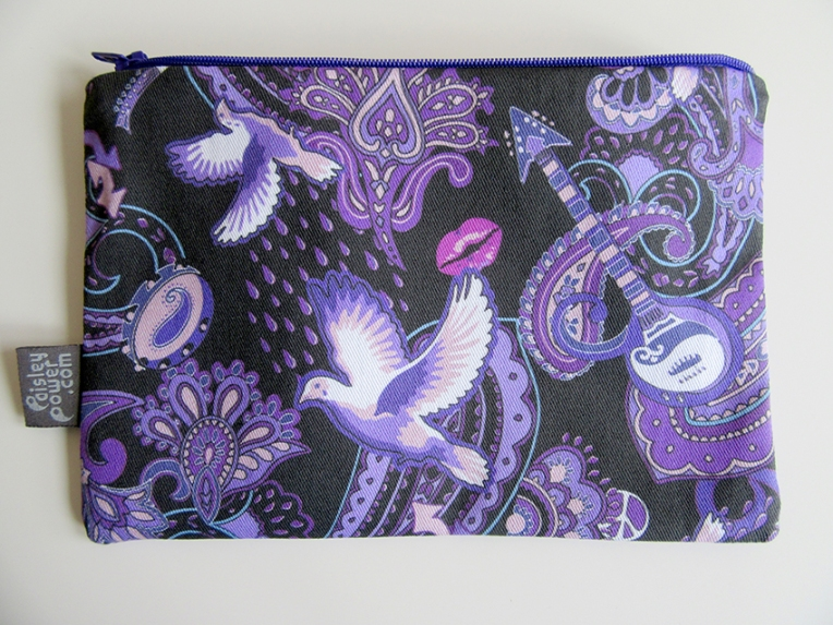 Paisley Prince Songbook zip bag for cosmetics, pens, travel items and accessories