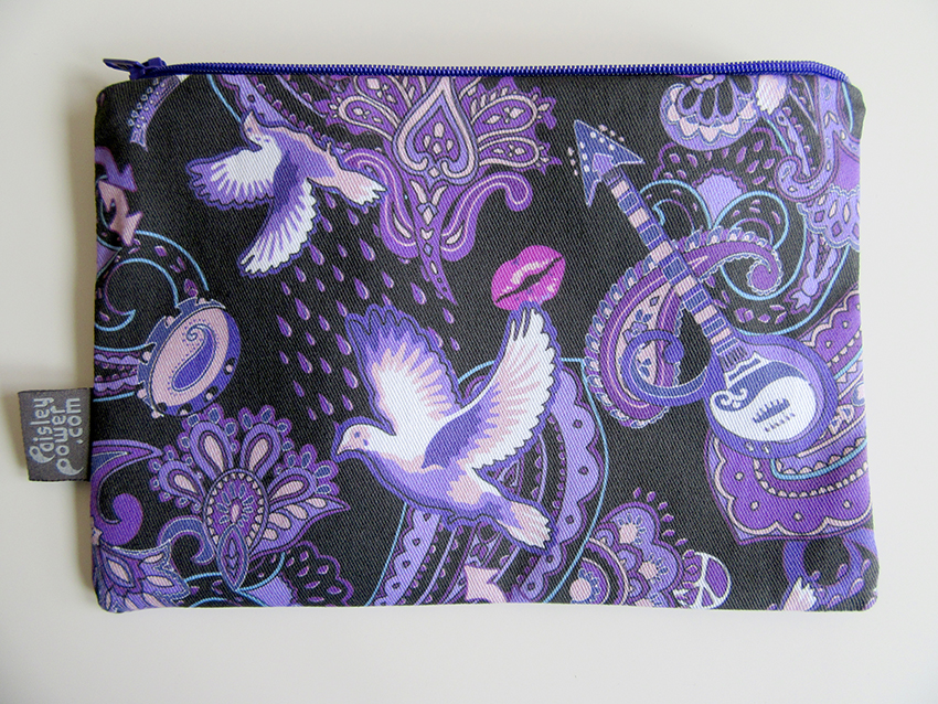 Popular pouch bag made with the small version of the Paisley Prince Songbook fabric. Available from Amazon Handmade.