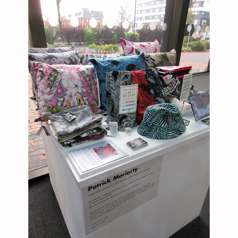 Patrick Moriarty display of home decor items and fashion accessories at the Beecroft Art Gallery, Southend, Essex, UK