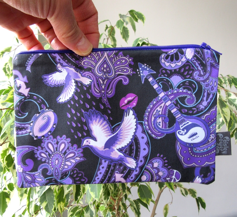 pouch bag with Paisley Prince Songbook printed cotton. The fabric was originally hand-drawn by Patrick Moriarty on paper in 2018.