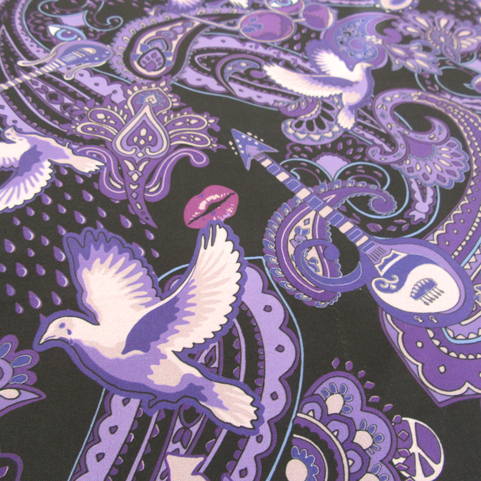 surface pattern design with doves, guitars and purple rain, printed on cotton fabric in 2019. Created by Patrick Moriarty in 2018 on paper before being printed on fabric.