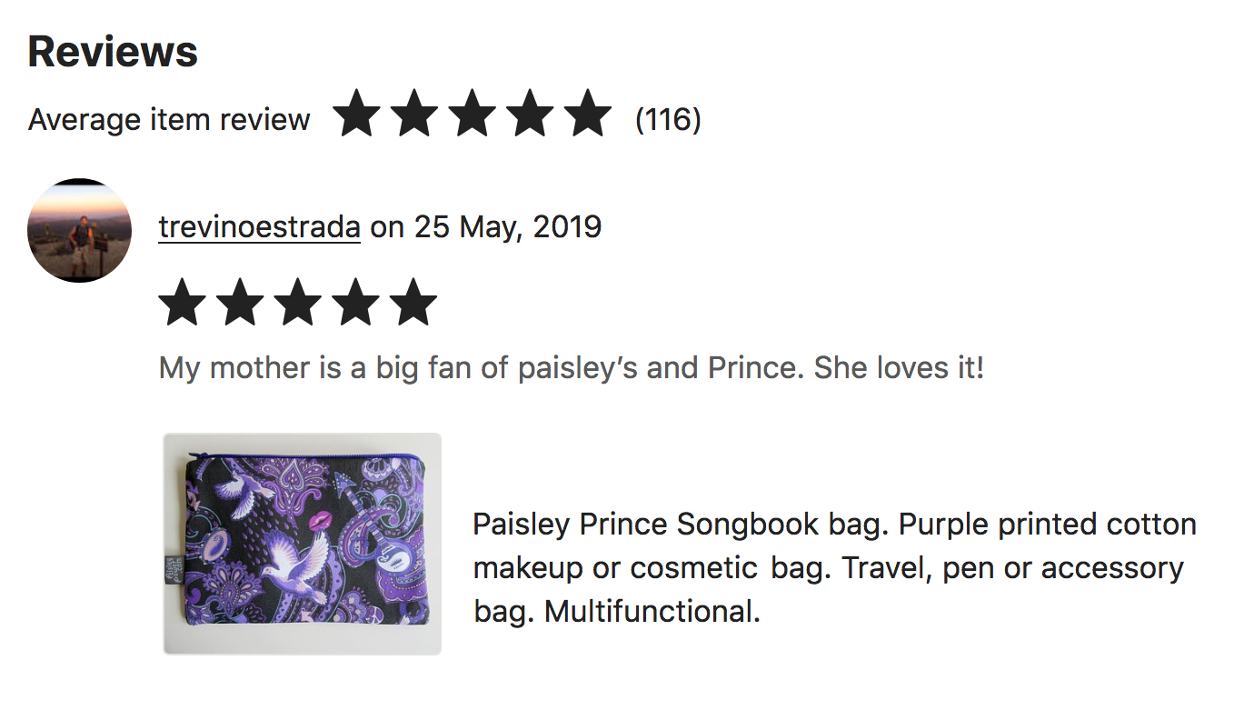 """Trevor in US posted a very complimentary review of the zip bag he bought from the PaisleyPowerShop. He wrote: """"My mother is a big fan of paisley's and Prince. She loves it!"""""""