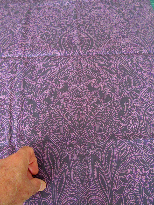 Purple Prince Paisley (symmetrical linear) design printed fabric.