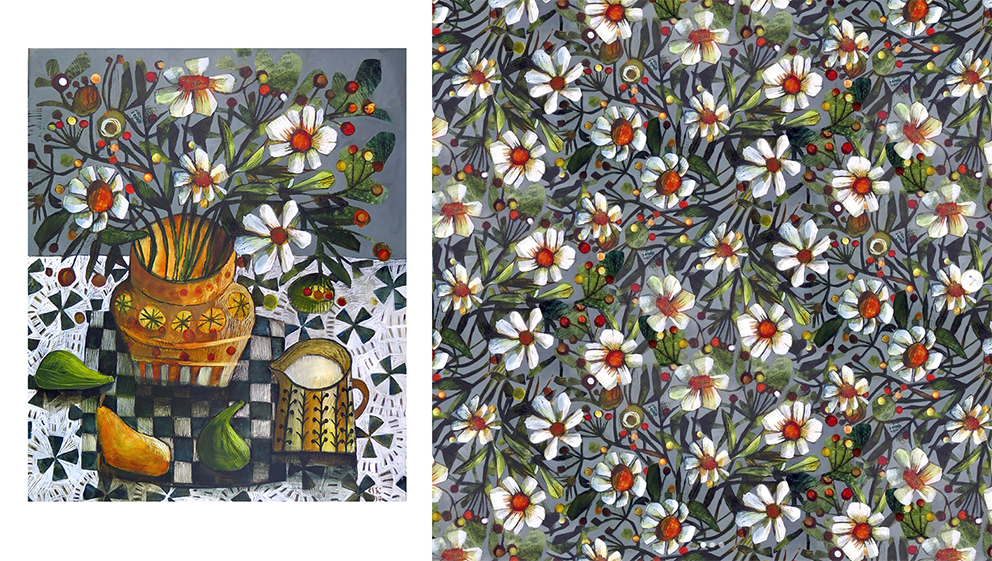 """""""Lindia's Kitchen"""" acrylic painting by Este MacLeod (left) with Photoshop adaptation by Patrick Moriarty (right)"""