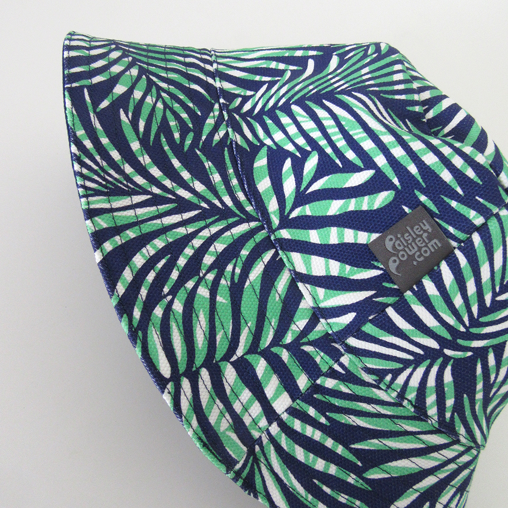 Bucket hat made with the green, blue and white version of the Palm Leaves fabric.