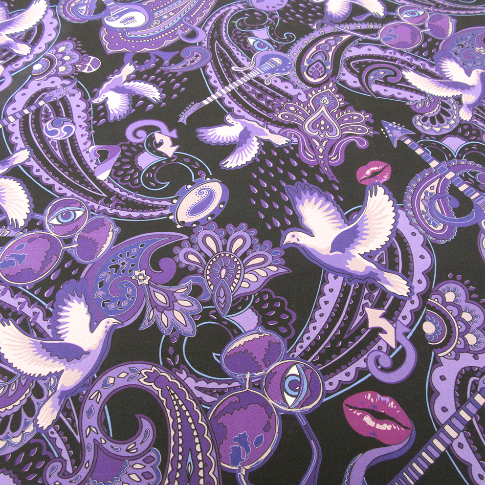 Paisley Prince Songbook design (large version) printed on cotton. A customer bought 5 yards.