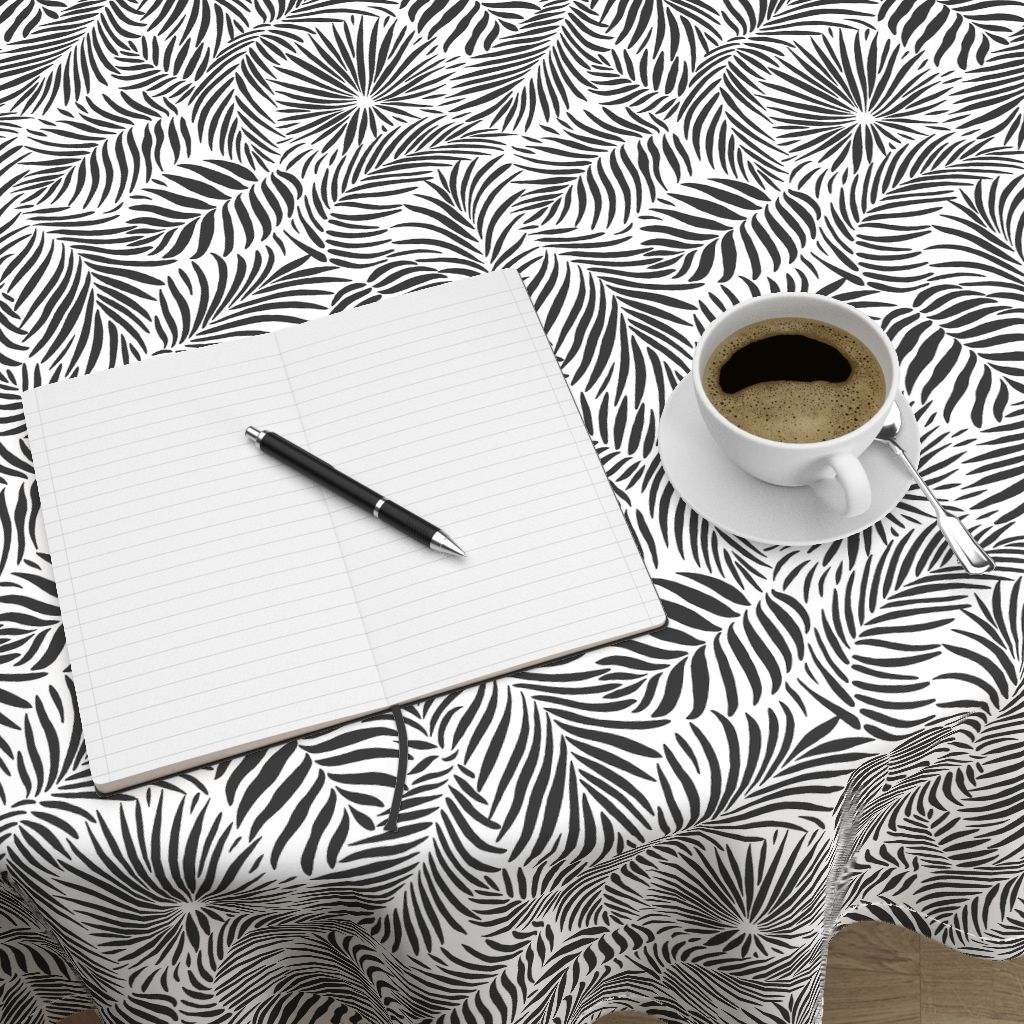 tablecloth with Palm Leaves tropical design. white and black version