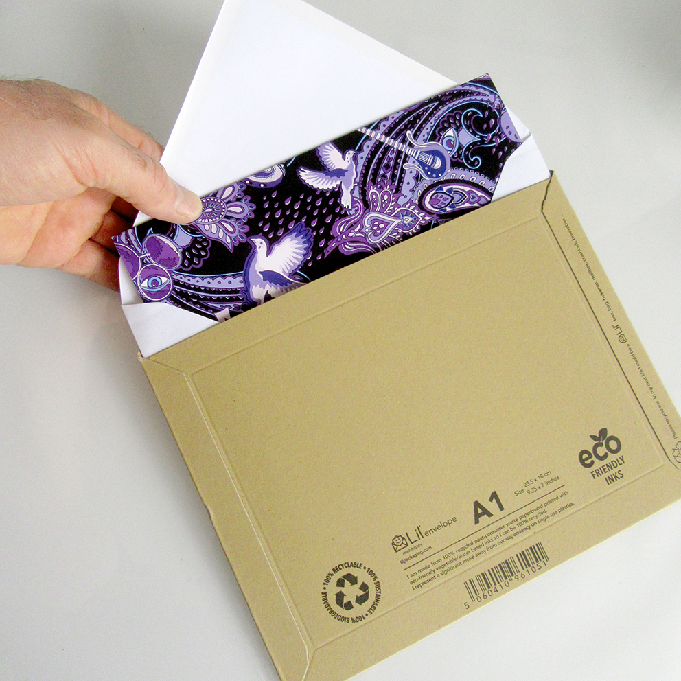 The unique purple paisley cards are shipped in reinforced cardboard packaging.