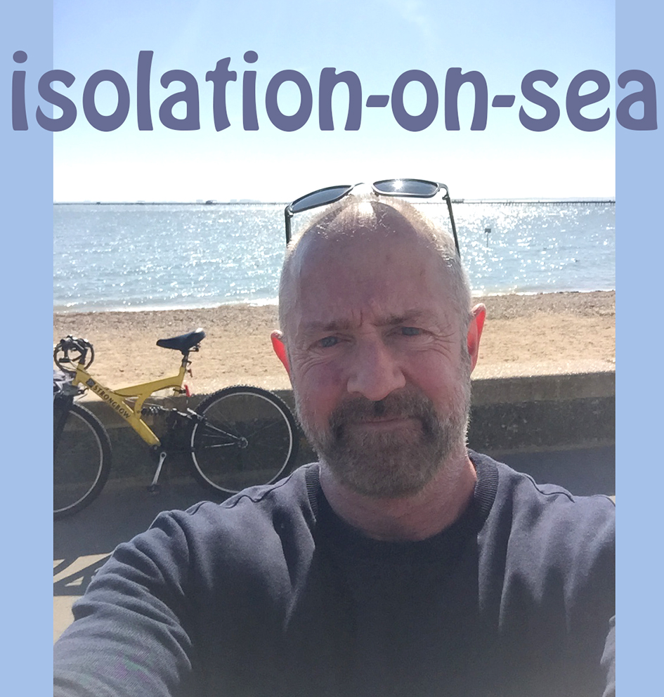 Designer Patrick Moriarty observing the British government's self-isolation advice during the Caronavirus pandemic by cycling alone on Southend seafront.