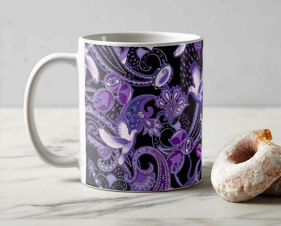 Paisley Prince Songbook coffee mug. The perfect mug for a Prince fan.