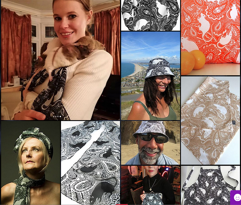 a section of the Paisley Rats page at PaisleyPower.com. The models in the photos are wearing fashion accessories made with Paisley Rats fabrics.