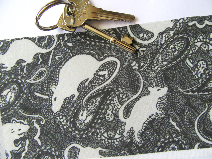 Paisley Rats (small-scale version) printed textile designed by Patrick Moriarty