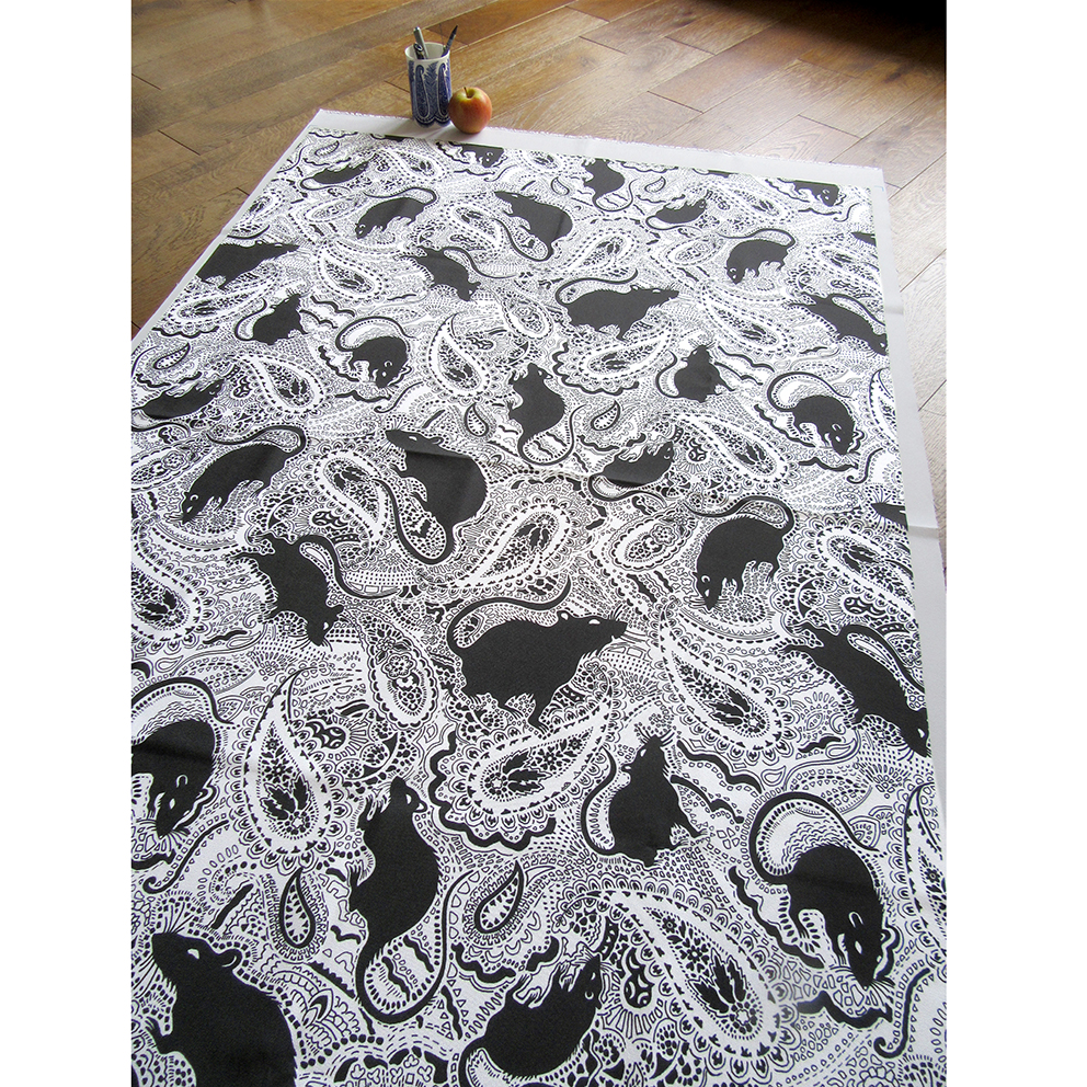 Paisley Rats design printed on cotton. This is the black rats on white background version. Designed by Patrick Moriarty