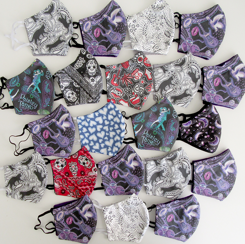21 face masks from the Paisley Power collection. Designed by Patrick Moriarty