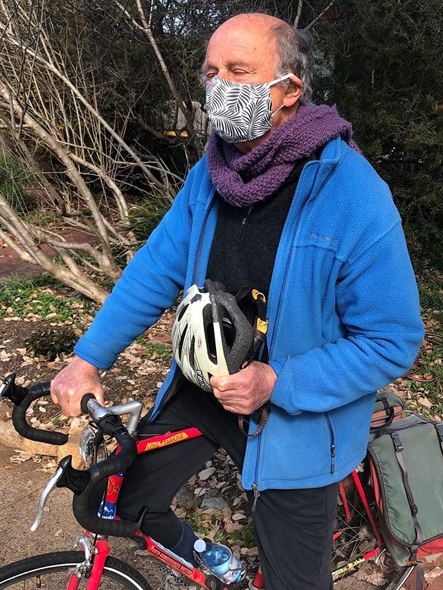 Gerry Jacobson in Canberra Australia wearing Palm Leaves black and white face mask