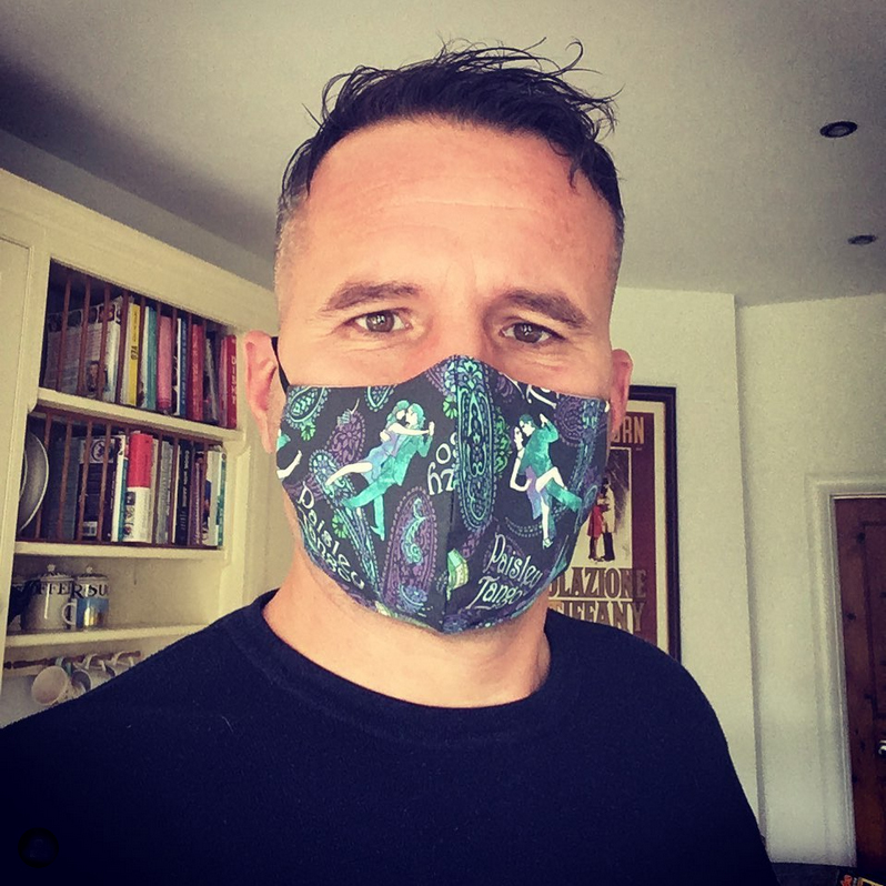 Andrea Marchetti wearing a Paisley Tango facemask in Southend-on-Sea Essex