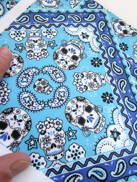 Mexican Skulls fabric (blues version). Designed by Patrick Moriarty in UK