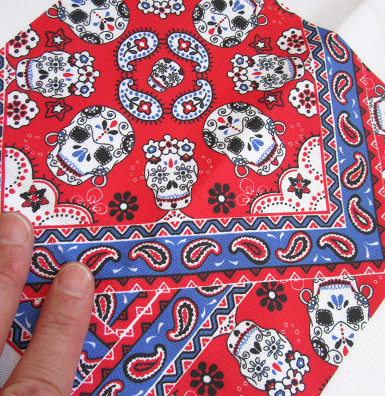 Mexican Skulls fabric (red & blue version)