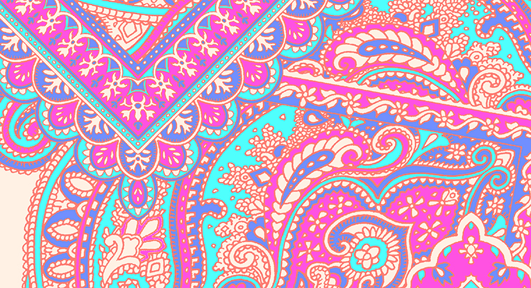 "close-up image of the ""Paisley Power scarf print"" design"