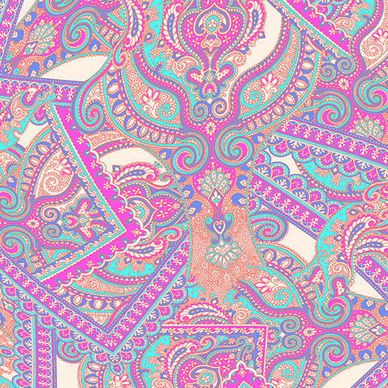 """Paisley Power scarf print"" design (pink and coral version) by Patrick Moriarty"