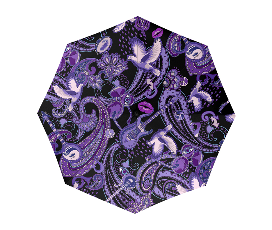 Paisley Prince Songbook umbrella. The Prince-themed purple paisley design was created by Patrick Moriarty 2018.