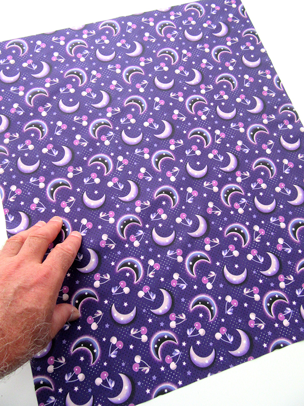 small purple version of the Cherry Moon printed cotton