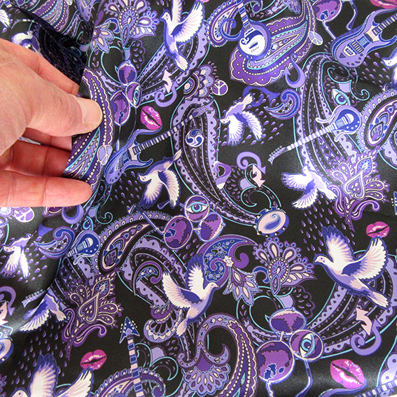 Paisley Prince Songbook printed fabric. very small-scale version