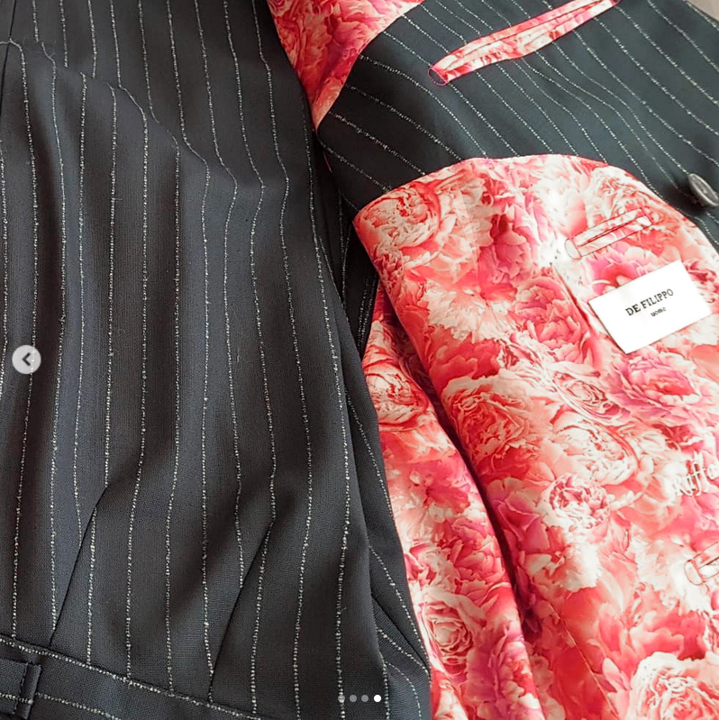 "De Filippo Uomo suit with ""Peonies"" lining fabric designed by patrick moriarty"