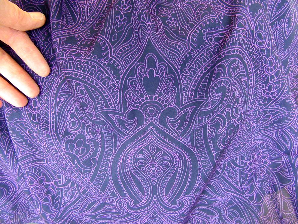 """Purple Prince Paisley"" design printed on satin"