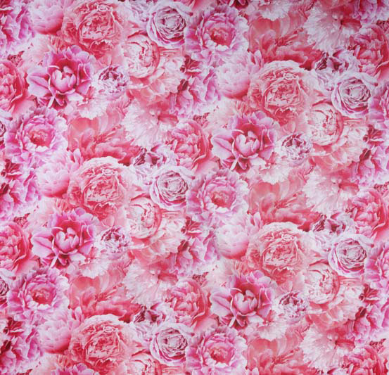 """Peonies"" a printed lining fabric designed by Patrick Moriarty for Bernstein and Banleys Ltd"