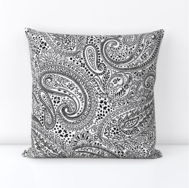 Square Throw Pillow Cover made with fabric printed with the Large-scale version of the Paisley Positivity design in white black.