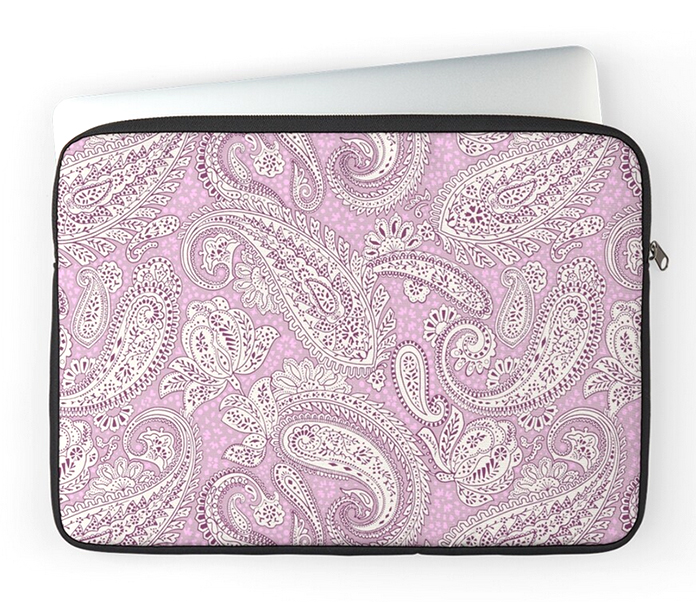 zipped laptop sleeve made with the Paisley Positivity fabric (lilac version).